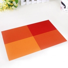 6pc Placemats Coasters Waterproof Insulation Mat Kitchen Dining Table (Orange) (Intl)