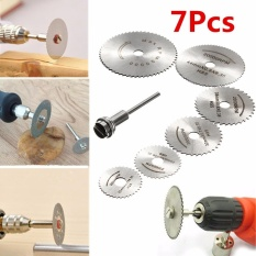 6x HSS Circular Wood Cutting Saw Blade Discs + 1x Mandrel Drill For Rotary Tool - intl