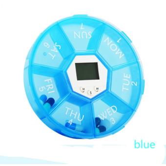 7 Day Weekly Pill Box Case Timer Alarm Clock Reminder Medicine Storage Dispenser Blue