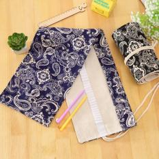 72 Hole Canvas Wrap Roll-up High Quality Pencil Box / Case For Children Brush Storge Pouch BLUE - Intl