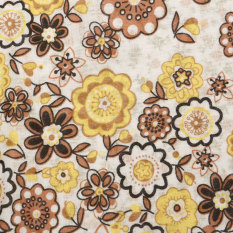 7x Square 25x25cm Assorted Pattern Floral Cotton Fabric Cloth DIY Crafts Sewing Brown - Intl