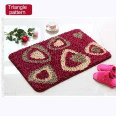 80x110cm Pattern Printed Bathroom Carpets Doormats Anti-Slip Polyester Floor Mat Pad For Living Room Bath Kitchen - Triangle Pattern - Intl