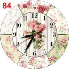 #84 Jam Dinding Shabby Chic Unik Lucu Bahan MDF Motif Bunga