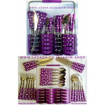 Ahim Shop STAINLESS STEEL CUTLERY SET 24pcs Peralatan Sendok Makan + Sendok Teh + Garpu (