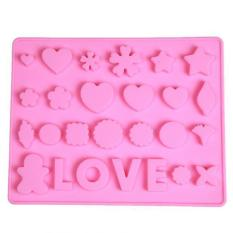 Ai Home Non-stick LOVE Heart Chocolate Cake Mould Ice Cube Tray Pink (Intl)