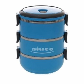 AIUEO Eco Lunch Box Stainless Steel Rantang 3 Susun - Blue