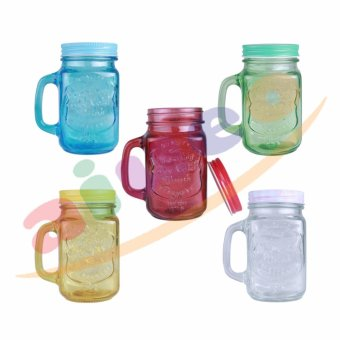 AIUEO Gelas Mug Jar Set - 450 mL - 5 Buah