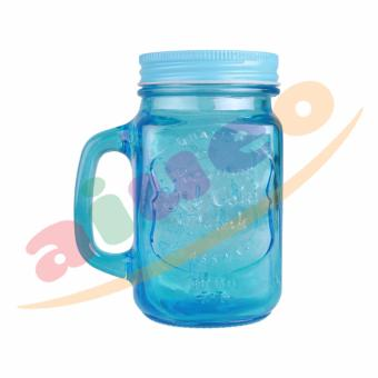 AIUEO Gelas Mug Jar Set - 450 mL - Biru - 1 Buah
