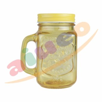 AIUEO Gelas Mug Jar Set - 450 mL - Kuning - 1 Buah