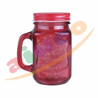 AIUEO Gelas Mug Jar Set - 450 mL - Merah - 1 Buah