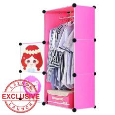 AIUEO Lemari Pakaian Motif Anak-anak 2 Pintu 3 Kotak 1 Gantungan Type 5.12 - Pink