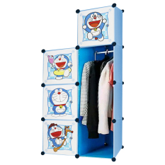 AIUEO Lemari Pakaian Motif Doraemon 4 Pintu 3 Kotak 1 Gantungan Type 7.60 - Biru