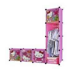 AIUEO Lemari Pakaian Motif Hello Kitty 4 Pintu 3 Kotak 1 Gantungan Type 7.18 - Pink