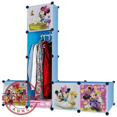 AIUEO Lemari Pakaian Motif Mickey 4 Pintu 3 Kotak 1 Gantungan Type 7.22 - Biru