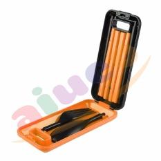 AIUEO Set Peralatan Makan Travel Sendok Garpu Sumpit Portable - Orange