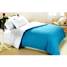Alona Ellenov Sprei With Bed Cover Katun Jepang Super Polos Plain Blue White - Biru