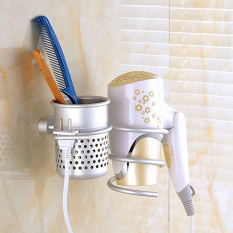 Aluminum Wall Mounted Bathroom Hair Drier Dryer Rack Storage Holder Comb Cup - Intl