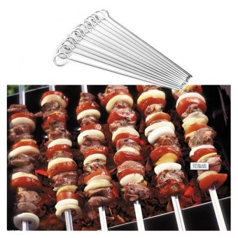 Amart 12PCS BBQ Iron Grill Skewers Outdoor 20CM