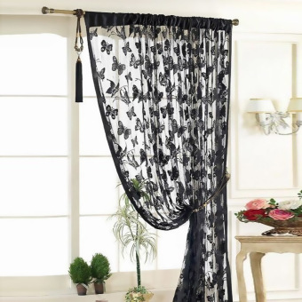 Amart Door Window Curtain Panel Butterfly String Cute Strip Tassel Black - intl