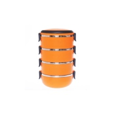 Angel Eco Lunch Box Stainless Steel Rantang 4 Susun Orange .