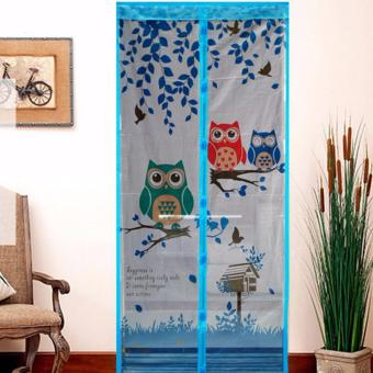 ANGEL - Magic Mesh Tirai Magnet Anti Nyamuk Motif Owl - Tirai Pintu Magnet - Biru