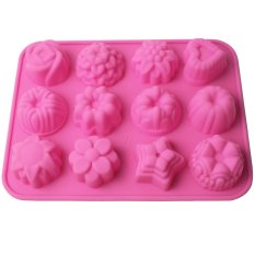 Ansee 12 Cavity Silicone Flower Shape Mold Cake Pink
