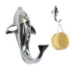 Audew Silver Chrome Alloy Dolphin Hook Towel Hat Clothes Wall Bathroom Mount Hanger NEW - Intl