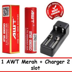 Baterai AWT 18650 3.7V Baterai Vape Vapor Rokok Elektrik Rechargeable Li-ion + Charger 2 Slot