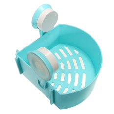 Bathroom Corner Shelf Suction Rack Organizer Cup Storage Shower Wall Basket Blue (INTL)