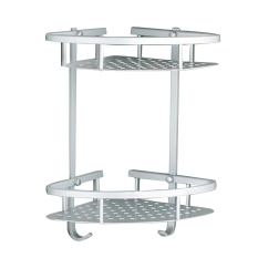 Bathroom Shower Wall Mounted Dual Layer Space Aluminum Soap Shampoo Facial Cleanser Lotion Bottle Storage Corner Shelf Holder Stand Rack With Hooks - Intl