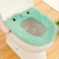 Bathroom Warmer Cute Washable Cloth Toilet Seat Cover Pads (Mint Green) (Intl)