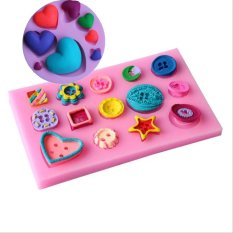 Beautiful Button Series Shape Silicone Mold And Various Love Heart Shape Fondant Cake Mold Bakeware Tools Soap Mold Decoration - Intl