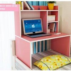 Best Mini Desk Meja Laptop, Belajar dan Rak Multifungsi - Pink