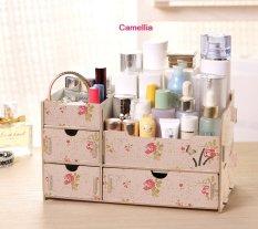 Best Rak Kayu Kosmetik 03 Kupu Cosmetic Stationary Alat Tulis Organizer - Pink Camelia