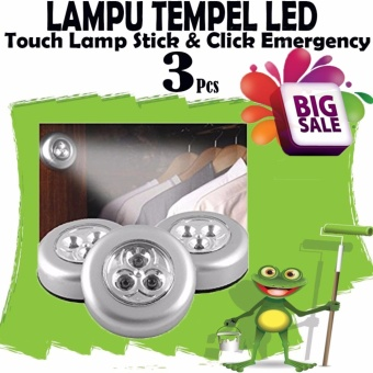 BIG Sale !! Harga Murah 3Pcs Lampu Led Tempel / Touch Lamp Stick /Lampu Led Lemari Baju / Gudang / Lampu Belajar - Lampu Tempel LED -Touch Lamp Stick n Click Emergency