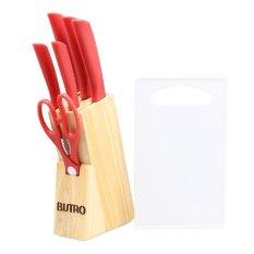 Bistro Pisau Stainless Steel Set - Merah - 8 Buah + Talenan