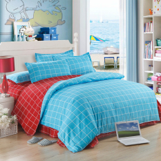 Blue And Red Lattice Style Printing 3pcs / 4pcs Cotton Bedding Set Duvet Cover + Flat / Fitted Sheet + Pillowcases Sets