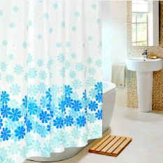 Blue Flowers Waterproof Shower Curtain Thicken Mouldproof Polyester Bathroom Curtains (150cm X 180cm) - Intl