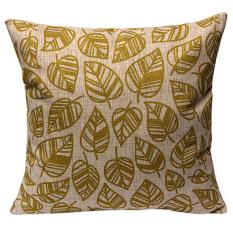 Bluelans Vintage Flower Cotton Linen Throw Pillow Case Cushion Cover Home Decor Golden (Intl)