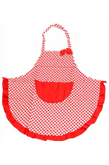 Bluelans Women BowKnot Dot Aprons Kitchen Restaurant Cafe Bib Cooking with Pocket Red
