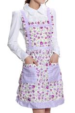 Bluelans Women's Bib Cooking Chef Floral Pocket Kitchen Princess Apron Light Purple (Intl)