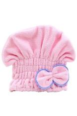 Bluelans Women's Hair Drying Hat Towel Turban Cap Bowknot Soft Coral Velvet Micro-fiber Pink (Intl)