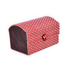 Box Jewelry Storage Keepsake Wooden Organizer Chest Vintage Decorative Trinket Red - Intl
