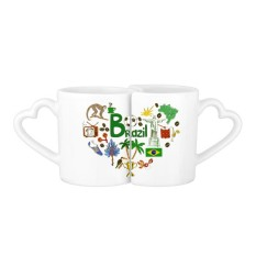 Brazil Vintage Illustration 227ml Lovers' Mug Set White Pottery Ceramic Cup Cute Funny Milk Coffee Cup With Handles