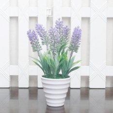 Buket Bunga Plastik Lavender Vas Melamin