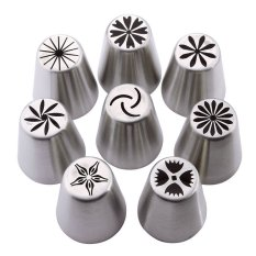 BUYINCOINS 8 buah pipa nozel Rusia tulip lapisan gula kue Tips kue alat berguna
