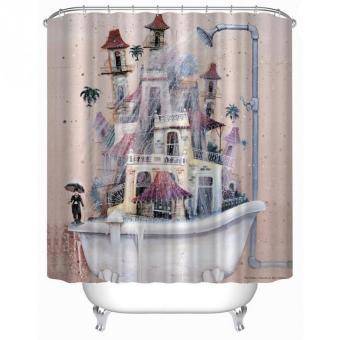 Cartoon Home Decor Shower Curtain Fashion House Tub Design Bathroom Waterproof Polyester Bathroom Curtain With 12 Hooks - Intl