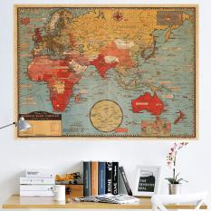 CatWalk Retro Peta Dunia Dapat Dilepas Wall Sticker (Aneka Warna)