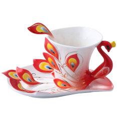 Ceramic Tea Cup Set European Peacock Coffee Cup 180ml (Red) (Intl)