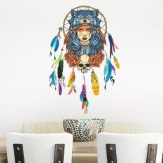 CHEER Colorful Indian Wolf Headdress Full Color Girl Unique Removable Wall Sticker - intl